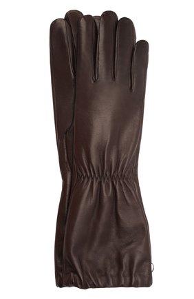 Женские кожаные перчатки BOTTEGA VENETA темно-коричневого цвета, арт. 671708/3V00F | Фото 1 (Длина (верхняя одежда): Длинные)