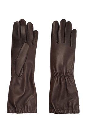 Женские кожаные перчатки BOTTEGA VENETA темно-коричневого цвета, арт. 671708/3V00F | Фото 2 (Длина (верхняя одежда): Длинные)