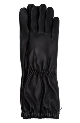 Женские кожаные перчатки BOTTEGA VENETA черного цвета, арт. 671708/3V00F | Фото 1 (Длина (верхняя одежда): Длинные)