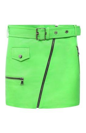 Женская кожаная юбка MANOKHI зеленого цвета, арт. A00000322 | Фото 1 (Материал подклада: Вискоза; Длина Ж (юбки, платья, шорты): Мини; Женское Кросс-КТ: Юбка-одежда; Стили: Гранж)