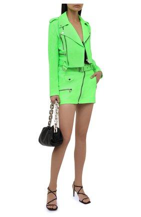 Женская кожаная юбка MANOKHI зеленого цвета, арт. A00000322 | Фото 2 (Материал подклада: Вискоза; Длина Ж (юбки, платья, шорты): Мини; Женское Кросс-КТ: Юбка-одежда; Стили: Гранж)