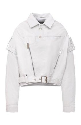Женская кожаная куртка MANOKHI белого цвета, арт. A00000985   Фото 1 (Длина (верхняя одежда): Короткие; Материал подклада: Вискоза; Рукава: Длинные; Кросс-КТ: Куртка; Стили: Гранж; Женское Кросс-КТ: Замша и кожа)