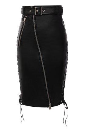 Женская кожаная юбка MANOKHI черного цвета, арт. A0002198 | Фото 1 (Материал подклада: Вискоза; Длина Ж (юбки, платья, шорты): До колена; Женское Кросс-КТ: Юбка-одежда; Стили: Гранж)
