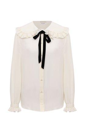 Женская шелковая блузка SAINT LAURENT кремвого цвета, арт. 665828/Y100W | Фото 1 (Материал внешний: Шелк; Рукава: Длинные; Длина (для топов): Стандартные; Женское Кросс-КТ: Блуза-одежда; Принт: Без принта; Стили: Кэжуэл)