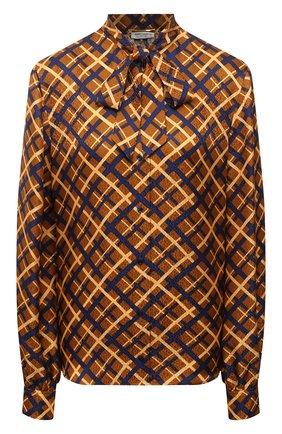 Женская шелковая блузка SAINT LAURENT коричневого цвета, арт. 660892/Y5D61 | Фото 1 (Рукава: Длинные; Длина (для топов): Стандартные; Материал внешний: Шелк; Женское Кросс-КТ: Блуза-одежда; Принт: С принтом, Клетка)