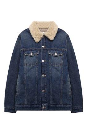 Детская джинсовая куртка MM6 синего цвета, арт. M60060-MM018 | Фото 1 (Рукава: Длинные; Материал внешний: Хлопок; Материал подклада: Синтетический материал; Кросс-КТ: Деним)