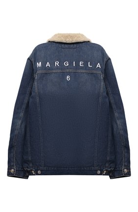 Детская джинсовая куртка MM6 синего цвета, арт. M60060-MM018 | Фото 2 (Рукава: Длинные; Материал внешний: Хлопок; Материал подклада: Синтетический материал; Кросс-КТ: Деним)