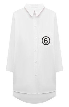 Детское хлопковое платье-рубашка MM6 белого цвета, арт. M60049-MM014 | Фото 1 (Рукава: Длинные; Случай: Повседневный; Материал внешний: Хлопок; Девочки Кросс-КТ: Платье-одежда)