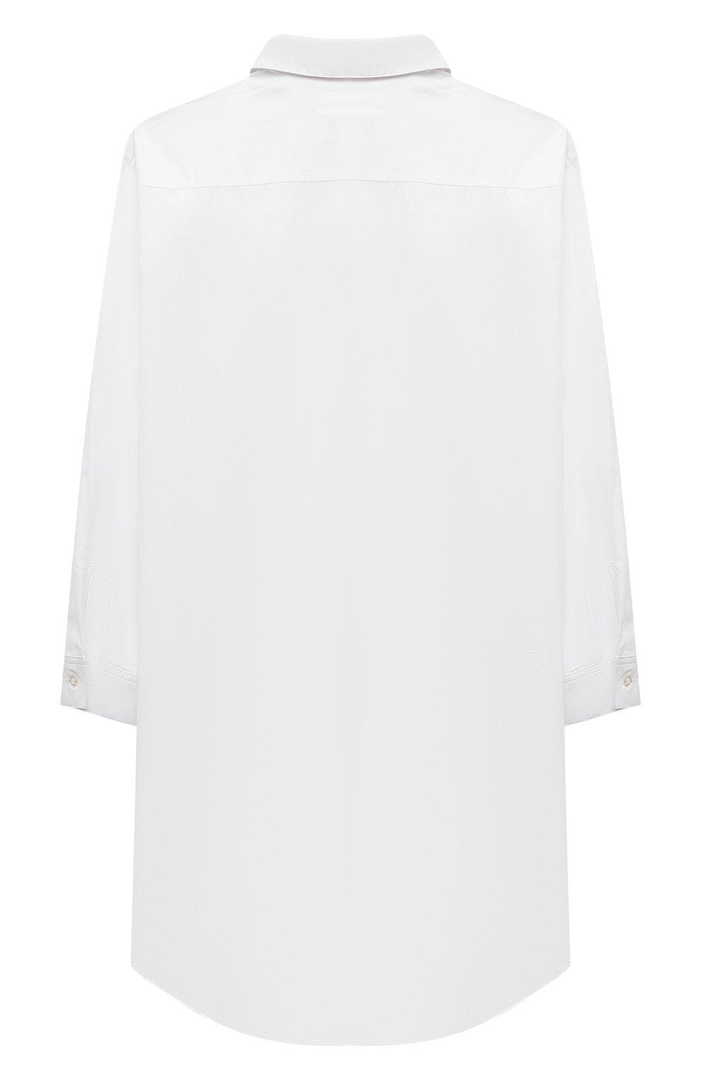 Детское хлопковое платье-рубашка MM6 белого цвета, арт. M60049-MM014 | Фото 2 (Рукава: Длинные; Случай: Повседневный; Материал внешний: Хлопок; Девочки Кросс-КТ: Платье-одежда)