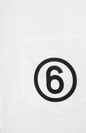 Детское хлопковое платье-рубашка MM6 белого цвета, арт. M60049-MM014 | Фото 3 (Рукава: Длинные; Случай: Повседневный; Материал внешний: Хлопок; Девочки Кросс-КТ: Платье-одежда)
