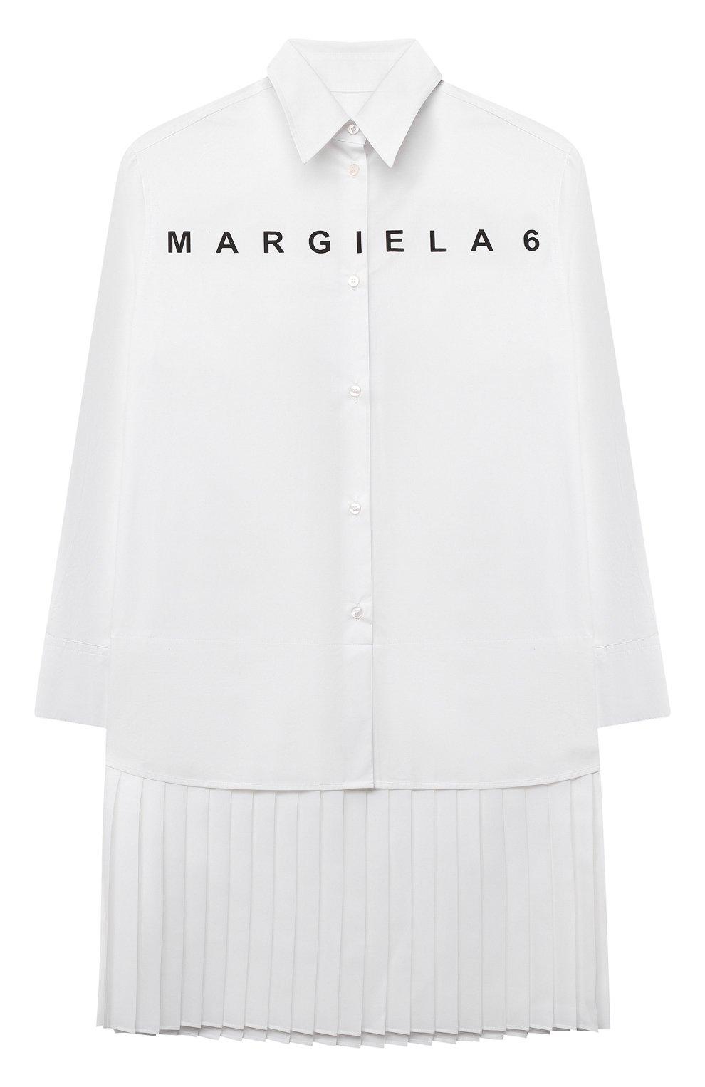 Детское хлопковое платье MM6 белого цвета, арт. M60050-MM017   Фото 1 (Рукава: Длинные; Случай: Повседневный; Материал внешний: Хлопок; Девочки Кросс-КТ: Платье-одежда)