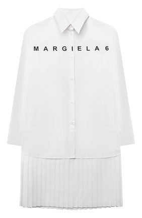 Детское хлопковое платье MM6 белого цвета, арт. M60050-MM017 | Фото 1 (Материал внешний: Хлопок; Рукава: Длинные; Девочки Кросс-КТ: Платье-одежда; Случай: Повседневный)