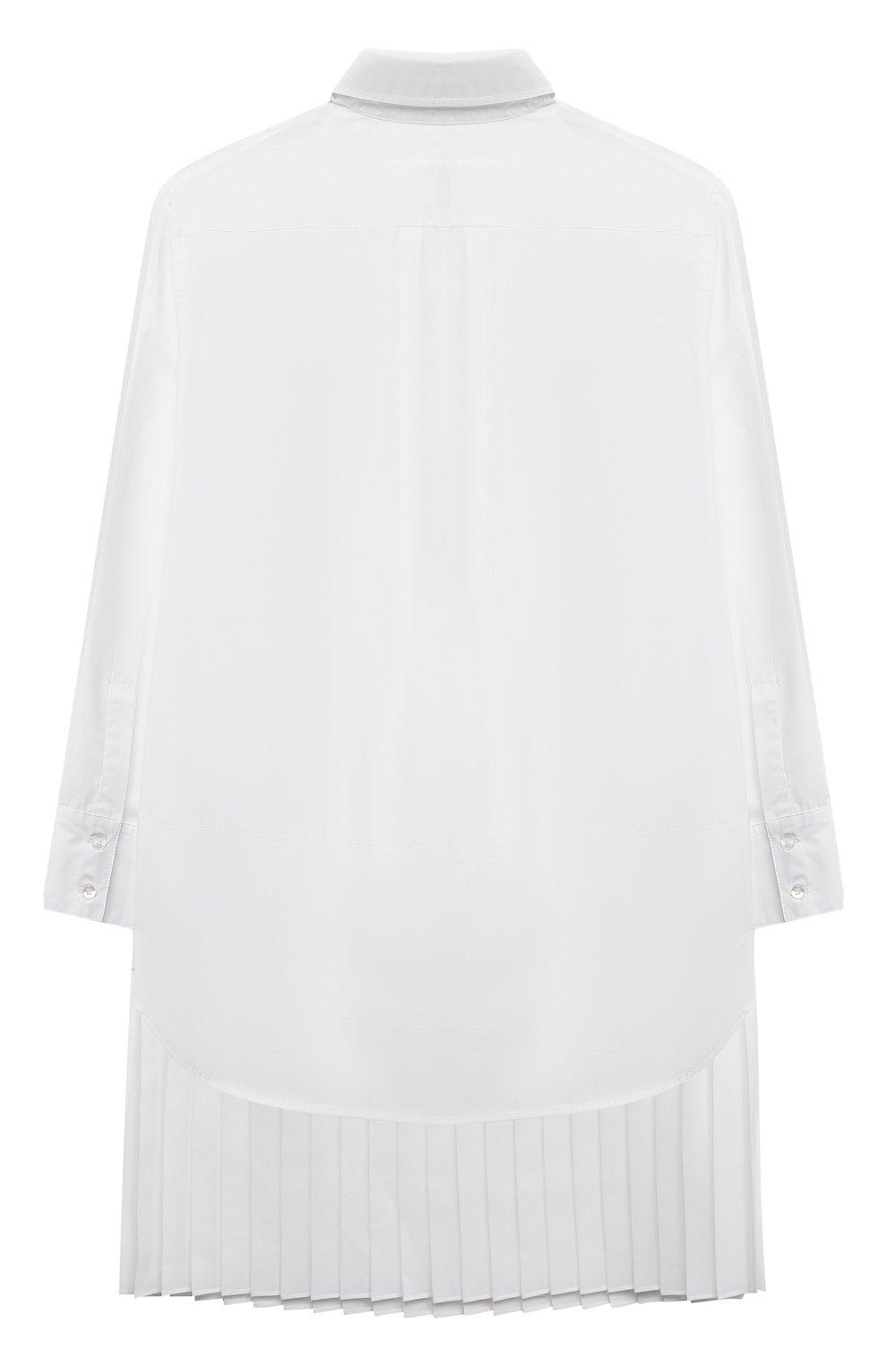 Детское хлопковое платье MM6 белого цвета, арт. M60050-MM017   Фото 2 (Рукава: Длинные; Случай: Повседневный; Материал внешний: Хлопок; Девочки Кросс-КТ: Платье-одежда)