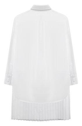 Детское хлопковое платье MM6 белого цвета, арт. M60050-MM017 | Фото 2 (Материал внешний: Хлопок; Рукава: Длинные; Девочки Кросс-КТ: Платье-одежда; Случай: Повседневный)