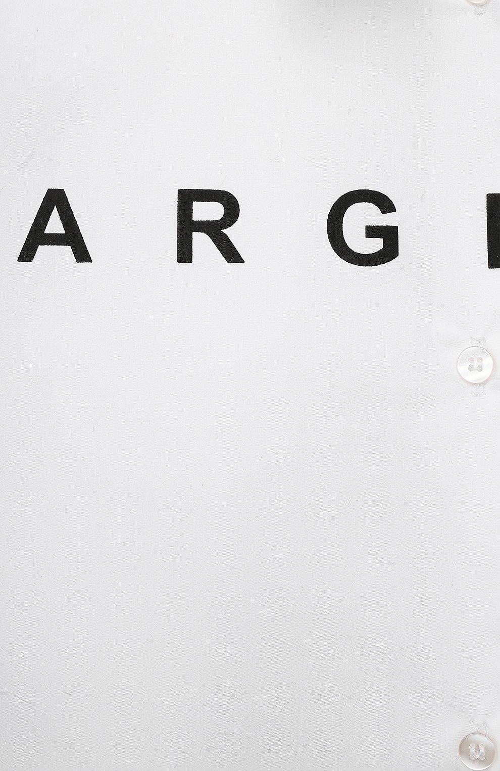 Детское хлопковое платье MM6 белого цвета, арт. M60050-MM017   Фото 3 (Рукава: Длинные; Случай: Повседневный; Материал внешний: Хлопок; Девочки Кросс-КТ: Платье-одежда)