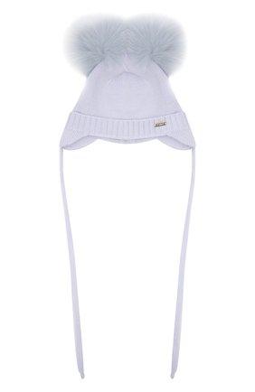 Детского шерстяная шапка с мехом IL TRENINO голубого цвета, арт. 21 4014 | Фото 1 (Материал: Шерсть)