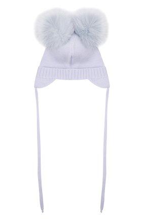 Детского шерстяная шапка с мехом IL TRENINO голубого цвета, арт. 21 4014 | Фото 2 (Материал: Шерсть)