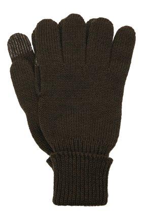 Детские шерстяные перчатки IL TRENINO хаки цвета, арт. 21 4056 | Фото 1 (Материал: Шерсть)