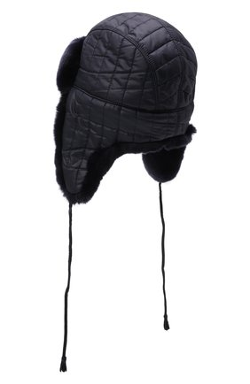 Детского шапка-ушанка с мехом IL TRENINO темно-синего цвета, арт. 21 4079 | Фото 2 (Материал: Синтетический материал, Текстиль)
