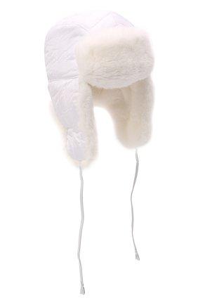 Детского шапка-ушанка с мехом IL TRENINO белого цвета, арт. 21 4079 | Фото 1 (Материал: Текстиль, Синтетический материал)