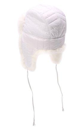 Детского шапка-ушанка с мехом IL TRENINO белого цвета, арт. 21 4079 | Фото 2 (Материал: Текстиль, Синтетический материал)