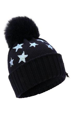 Детского шерстяная шапка с мехом IL TRENINO темно-синего цвета, арт. 21 5751 | Фото 1 (Материал: Шерсть)
