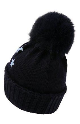 Детского шерстяная шапка с мехом IL TRENINO темно-синего цвета, арт. 21 5751 | Фото 2 (Материал: Шерсть)
