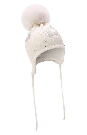 Детского шерстяная шапка с мехом IL TRENINO белого цвета, арт. 21 5866 | Фото 1 (Материал: Шерсть)