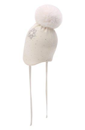 Детского шерстяная шапка с мехом IL TRENINO белого цвета, арт. 21 5866 | Фото 2 (Материал: Шерсть)