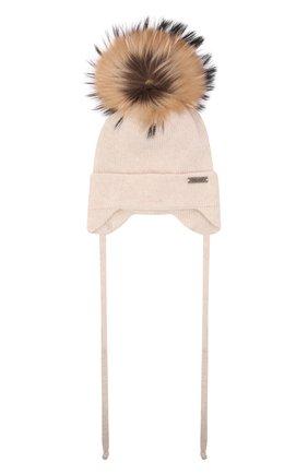 Детского шерстяная шапка с мехом IL TRENINO бежевого цвета, арт. 21 5874 | Фото 1 (Материал: Шерсть, Кашемир)