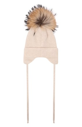 Детского шерстяная шапка с мехом IL TRENINO бежевого цвета, арт. 21 5874 | Фото 2 (Материал: Шерсть, Кашемир)
