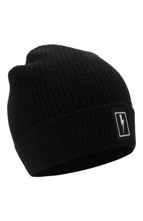 Детского шапка NEIL BARRETT KIDS черного цвета, арт. 028989   Фото 1 (Материал: Текстиль, Синтетический материал)