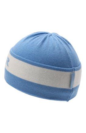 Детского шерстяная шапка MONCLER голубого цвета, арт. G2-951-9Z712-20-A9640 | Фото 2 (Материал: Шерсть)