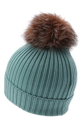 Детского шерстяная шапка с мехом MONCLER бирюзового цвета, арт. G2-954-3B711-10-04S01   Фото 2 (Материал: Шерсть)
