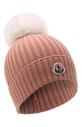 Детского шерстяная шапка MONCLER розового цвета, арт. G2-954-3B726-10-04S01   Фото 1 (Материал: Шерсть)