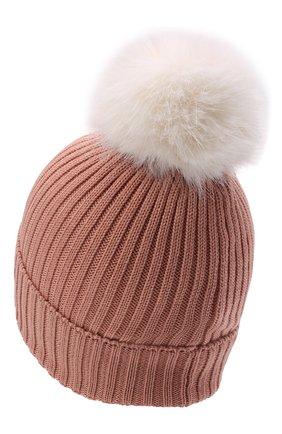 Детского шерстяная шапка MONCLER розового цвета, арт. G2-954-3B726-10-04S01   Фото 2 (Материал: Шерсть)