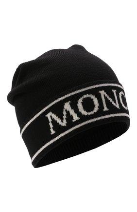 Детского шерстяная шапка MONCLER черного цвета, арт. G2-954-9Z742-00-A9641   Фото 1 (Материал: Шерсть)