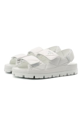 Женские кожаные сандалии PRADA белого цвета, арт. 1X721M-038-F0009-020   Фото 1