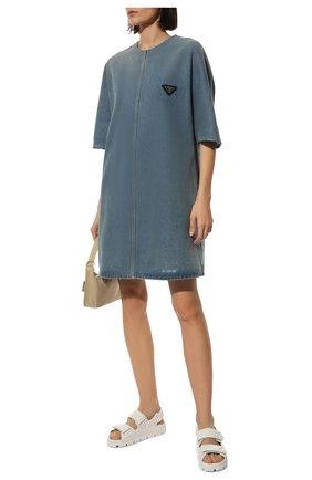 Женские кожаные сандалии PRADA белого цвета, арт. 1X721M-038-F0009-020   Фото 2