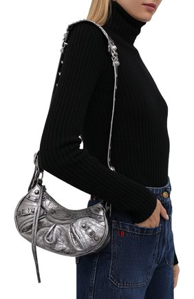 Женская сумка cagole BALENCIAGA серебряного цвета, арт. 671309/0GT3Y | Фото 2 (Материал: Натуральная кожа; Размер: small; Ремень/цепочка: На ремешке; Сумки-технические: Сумки через плечо)