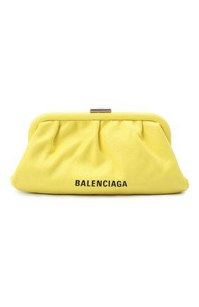 Женский клатч cloud xs BALENCIAGA желтого цвета, арт. 618895/1IZ03 | Фото 1 (Материал: Натуральная кожа; Женское Кросс-КТ: Клатч-клатчи; Размер: small; Ремень/цепочка: На ремешке)