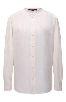 Женская рубашка из вискозы и шелка RALPH LAUREN кремвого цвета, арт. 290858220 | Фото 1 (Материал внешний: Вискоза, Шелк; Длина (для топов): Стандартные; Рукава: Длинные; Стили: Кэжуэл; Женское Кросс-КТ: Рубашка-одежда; Принт: Без принта)