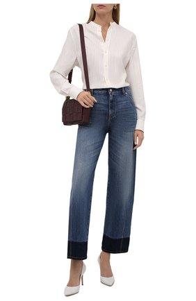 Женская рубашка из вискозы и шелка RALPH LAUREN кремвого цвета, арт. 290858220 | Фото 2 (Материал внешний: Вискоза, Шелк; Длина (для топов): Стандартные; Рукава: Длинные; Стили: Кэжуэл; Женское Кросс-КТ: Рубашка-одежда; Принт: Без принта)
