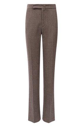 Женские шерстяные брюки RALPH LAUREN коричневого цвета, арт. 290858165 | Фото 1 (Длина (брюки, джинсы): Удлиненные; Материал внешний: Шерсть; Стили: Кэжуэл)