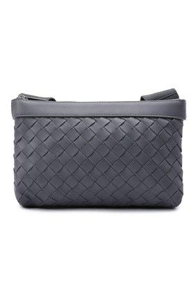 Мужская кожаная сумка BOTTEGA VENETA серого цвета, арт. 651938/V0E52   Фото 1 (Материал: Натуральная кожа; Ошибки технического описания: Нет глубины; Ремень/цепочка: На ремешке)