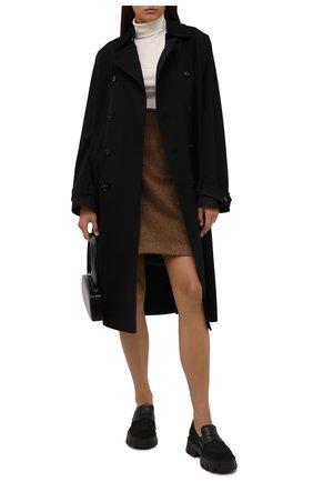 Женские комбинированные лоферы PREMIATA черного цвета, арт. M6117/IR0NMAN+NYAP+GAUCH0   Фото 2 (Материал внешний: Текстиль; Каблук высота: Низкий; Материал утеплителя: Натуральный мех; Подошва: Платформа)