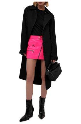 Женская кожаная юбка MANOKHI фуксия цвета, арт. A00000322 | Фото 2 (Материал подклада: Вискоза; Женское Кросс-КТ: Юбка-одежда; Стили: Гранж; Длина Ж (юбки, платья, шорты): Мини)