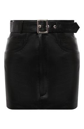 Женская кожаная юбка MANOKHI черного цвета, арт. A0000067 | Фото 1 (Материал подклада: Вискоза; Длина Ж (юбки, платья, шорты): Мини; Женское Кросс-КТ: Юбка-одежда; Стили: Гранж)