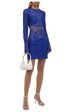 Женское платье TOM FORD синего цвета, арт. AB3037-FAX864 | Фото 2 (Длина Ж (юбки, платья, шорты): Мини; Материал внешний: Синтетический материал, Хлопок; Рукава: Длинные; Материал подклада: Вискоза; Женское Кросс-КТ: Платье-одежда; Стили: Гламурный; Случай: Коктейльный)