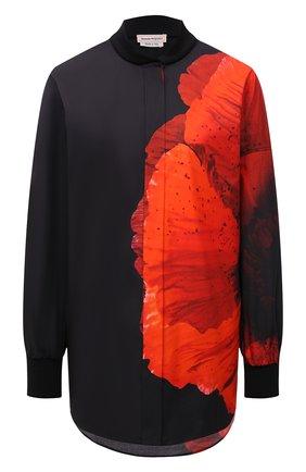Женская хлопковая рубашка ALEXANDER MCQUEEN разноцветного цвета, арт. 679604/QZAEE   Фото 1 (Длина (для топов): Удлиненные; Материал внешний: Хлопок; Рукава: Длинные; Женское Кросс-КТ: Рубашка-одежда; Принт: С принтом; Стили: Кэжуэл)
